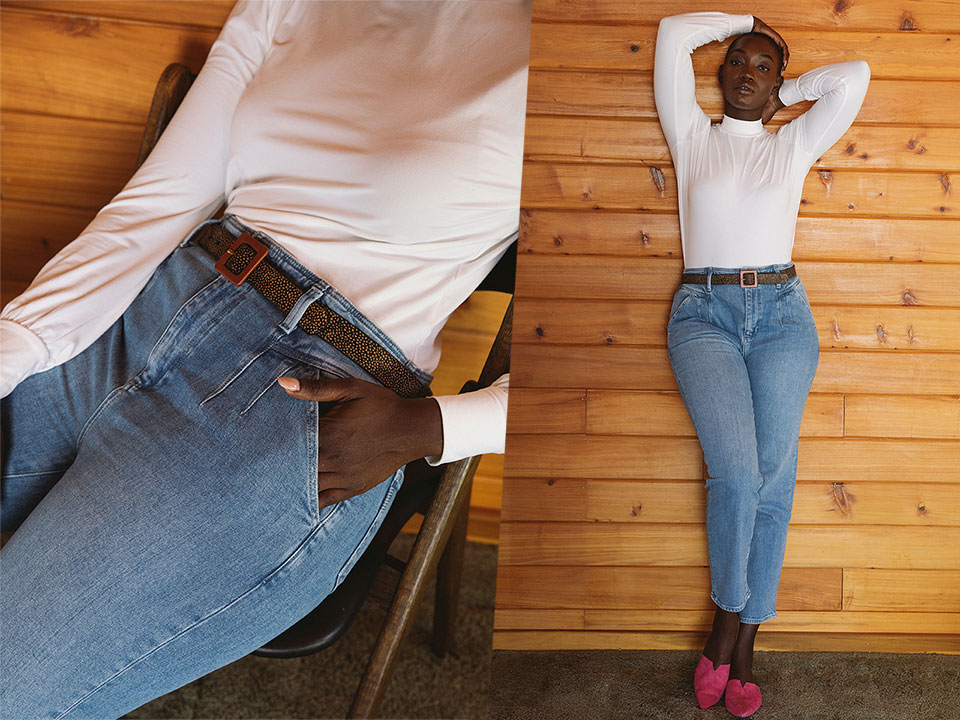 Relaxed Pleated Denim